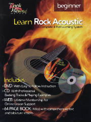 LEARN ROCK ACOUSTIC - BEGINNER LEVEL A Complete 4-Part Learning System BY John McCarthy  --  BOOK, CD & DVD
