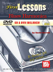 First Lessons Blues Harmonica Book/CD/DVD Set by David Barrett  --  BOOK, CD AND DVD